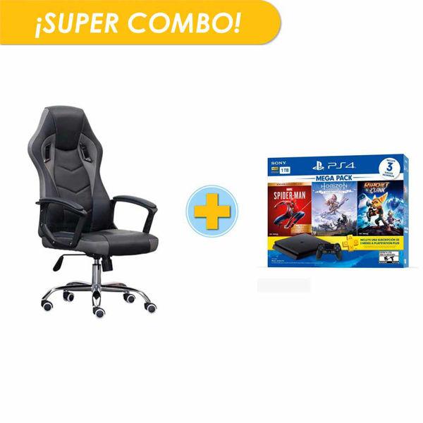 combo, silla, gamer, consola, ps4